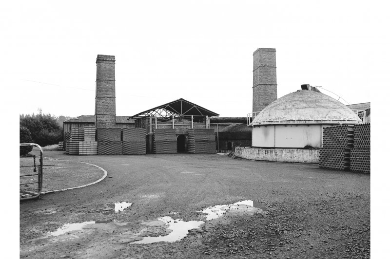 Inchcoonans Tile Works View from NNE showing chimneys, buildings and clay pipes