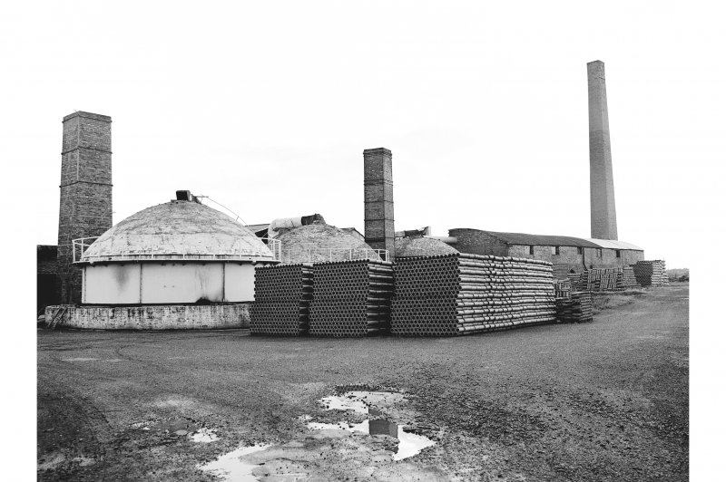 Inchcoonans Tile Works View from NE showing chimneys, buildings and clay pipes