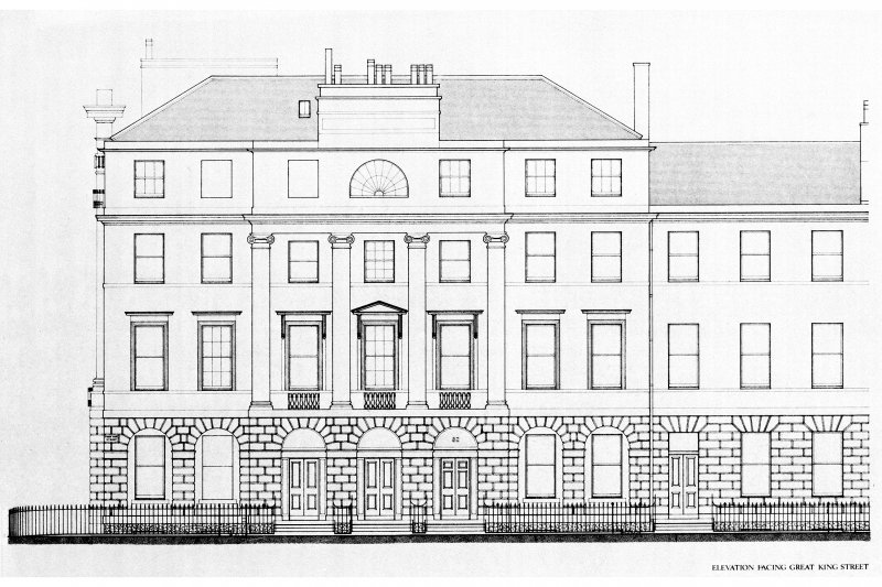 Great King Street, General. Photographic copy of plan profile and elevation of typical end pavilion and house of Great King Street (possibly No 82, 84 and 86 Great King Street). Scale: 1:4""