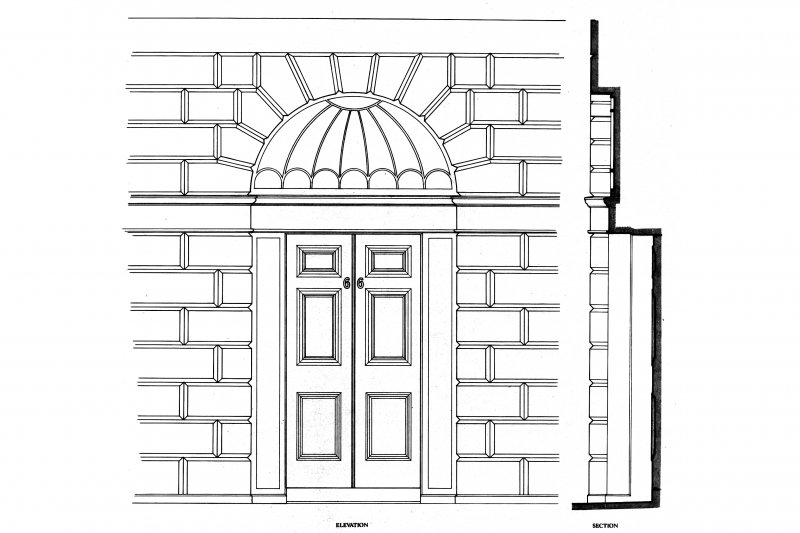 "Great King Street, general Photographic copy of plan, elevation and section of a typical door 1 1/2"" scale, photostat"