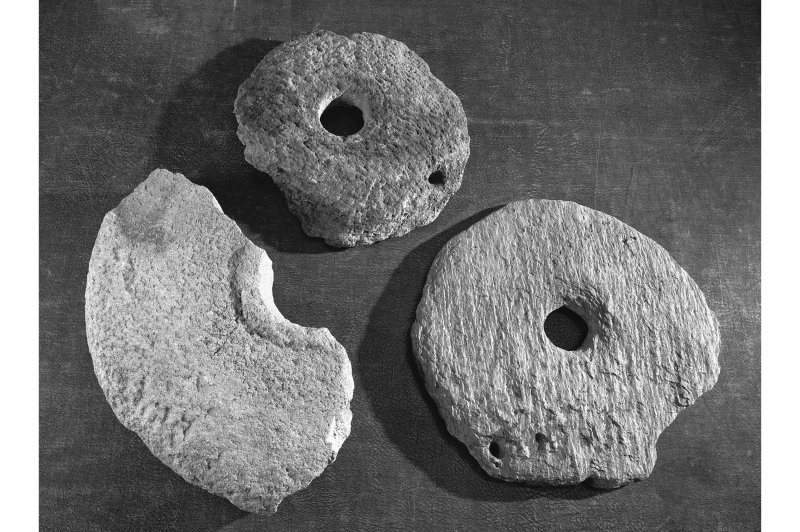 Rotary querns from crannog excavations.
