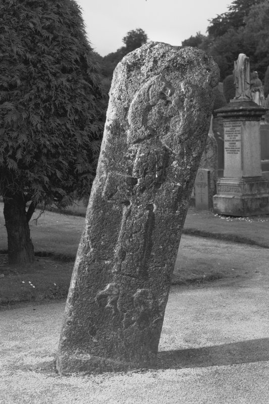 View of face of the Mortlach Battle Stone, Pictish cross slab