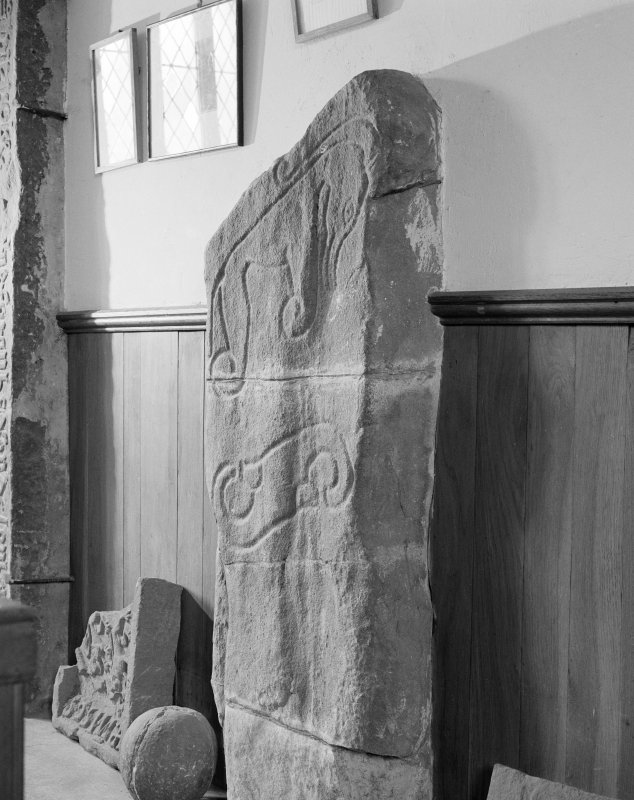 View of reverse of the Battle Stone Pictish cross slab, Mortlach.