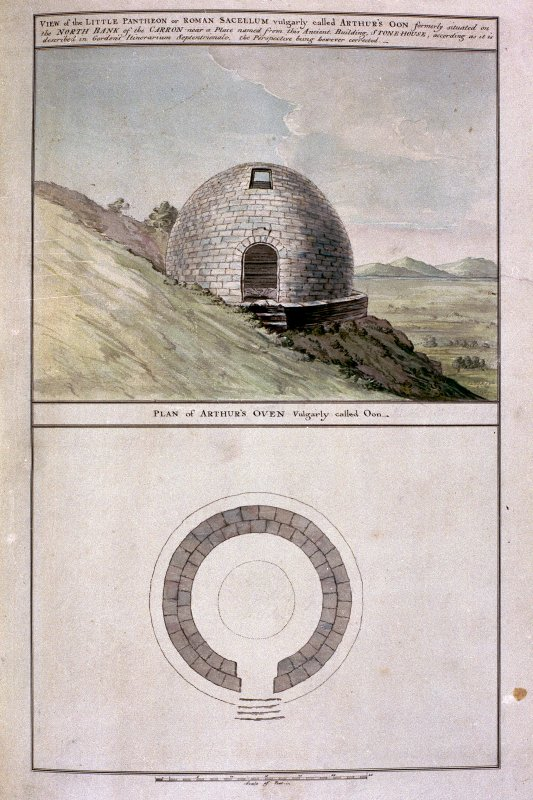 View and plan of the little Pantheon or Roman sacellum vulgarly called Arthur's O'n. Plate XXXVI from 'Military Antiquities of the Romans in Britain'.