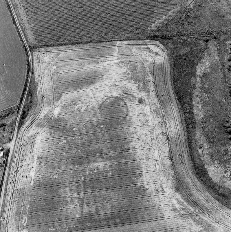 Gilchrist, oblique aerial view, taken from the NE, centred on the cropmarks of a possible enclosure and a round house.