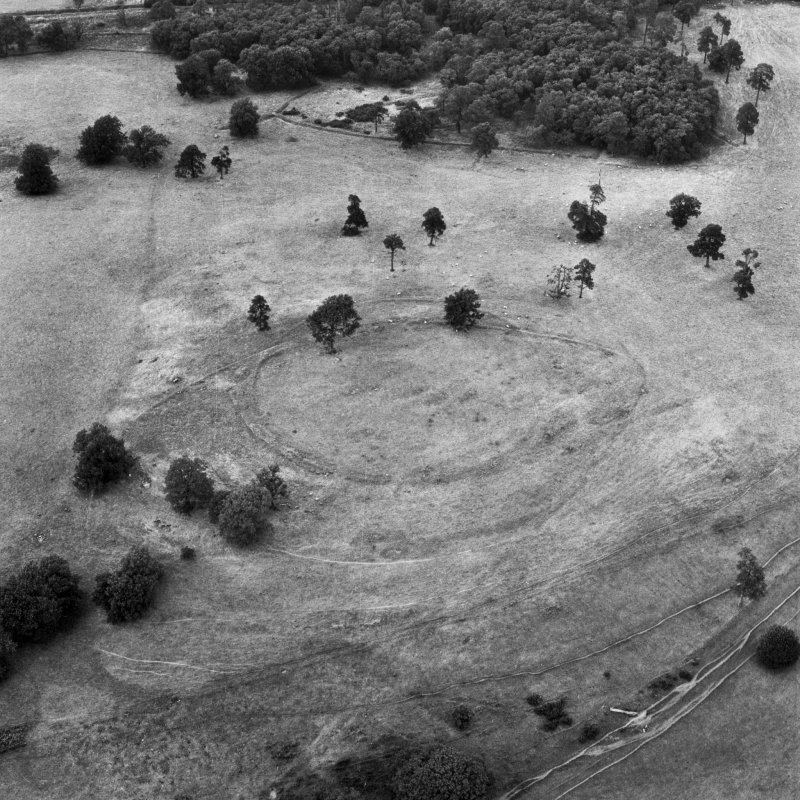 Dron Hill, oblique aerial view, taken from the S, centred on a fort and plantation bank.
