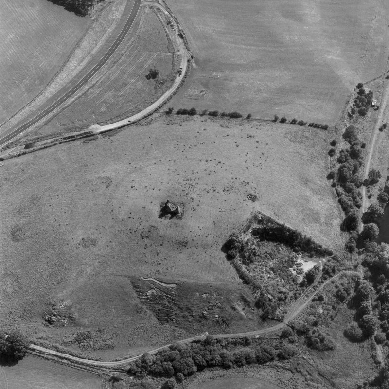 Horsburgh Castle, oblique aerial view, taken from the W, centred on the Tower surrounded by the cropmarks of a fort.