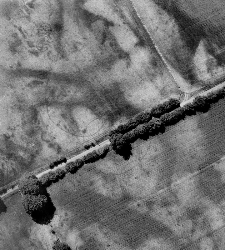 Oblique aerial view digitally enhanced: cropmarks emphasised.