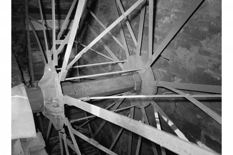Barry, Upper Mill, Interior View showing axle and spokes of waterwheel