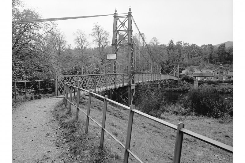 Pitlochry, Suspension Bridge View from N showing NW front