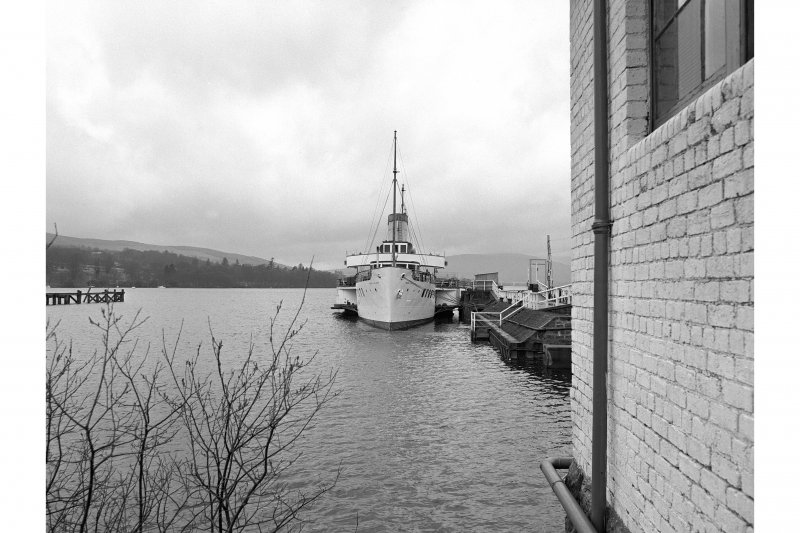Balloch, Pier View looking NW showing PS Maid of the Loch docked at pier
