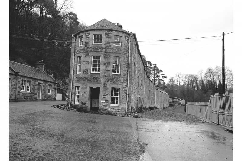 New Lanark, 1-8 Caithness Row and Counting House View from NW showing NW front of Counting House