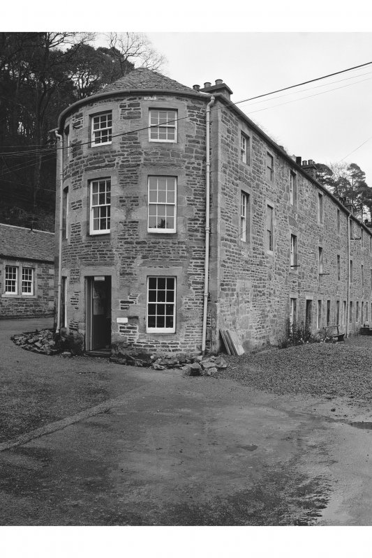 New Lanark, 1-8 Caithness Row and Counting House View from WNW showing NW and WSW fronts of Counting House