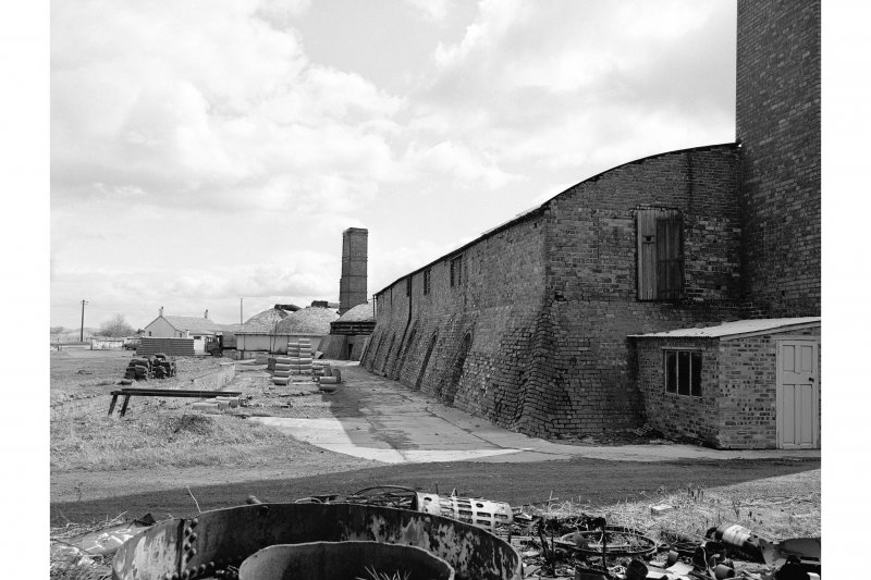 Inchcoonans Tile Works View from W showing NNW front of brick kiln and part of boiler front
