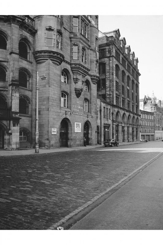 Edinburgh, 1-6 Market Street View from NE showing NNW front of number 20 North Bridge and NNW front of numbers 1-6 Market Street
