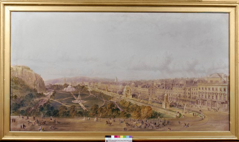 Painting showing Princes Street and Gardens.