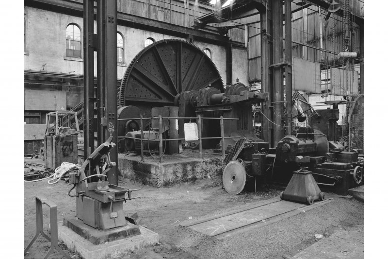 Paisley, Renfrew Road, Vulcan Works, Interior Rear view of belt-driven faceplate lathe