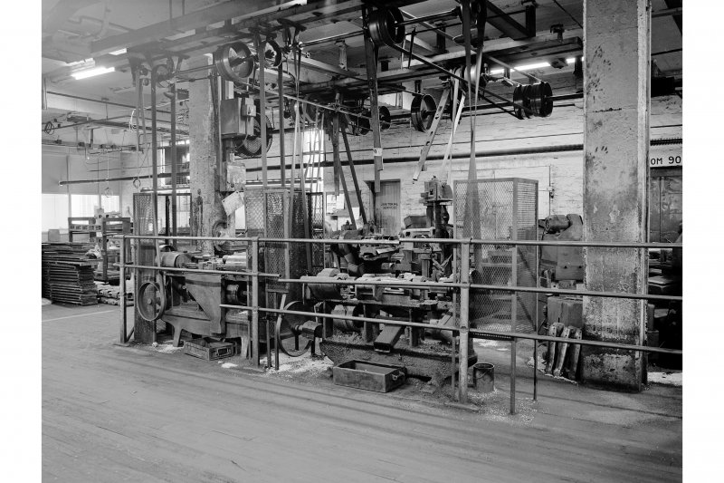 Clydebank, Singer's Works, Industrial Dept View of belt-driven machinery