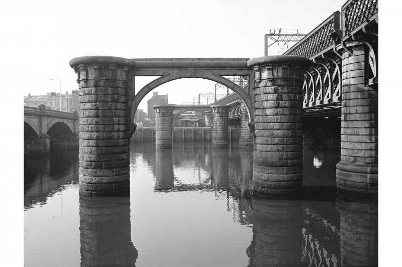 Glasgow, Central Station Railway Bridge View looking SSW showing remains of Central Railway Station Bridge with Glasgow Bridge on left and Caledonian Bridge on right
