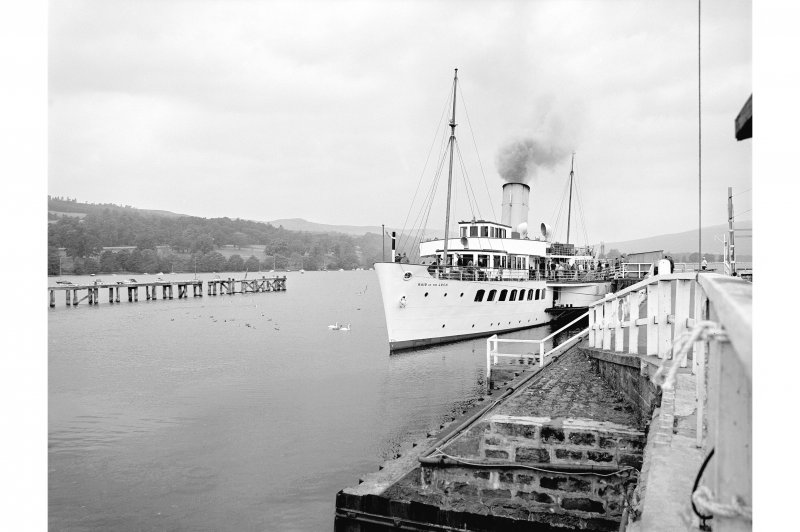 Balloch, Pier View from ESE showing PS Maid of the Loch docked at Balloch Pier