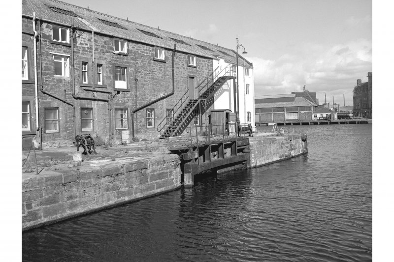 Edinburgh, Leith Docks, East Old Dock View from SW showing E lock gate with part of converted warehouse in background