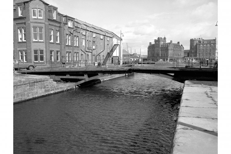 Edinburgh, Leith Docks, East Old Dock View from WSW showing WSW front of swing bridge with converted warehouse in background