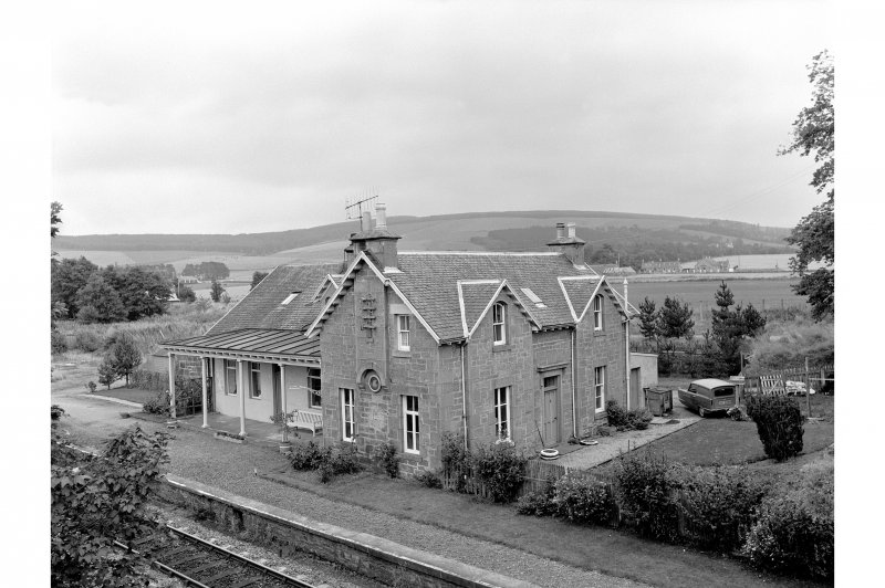 Mulben Station View from N showing NW and NE fronts of main station building