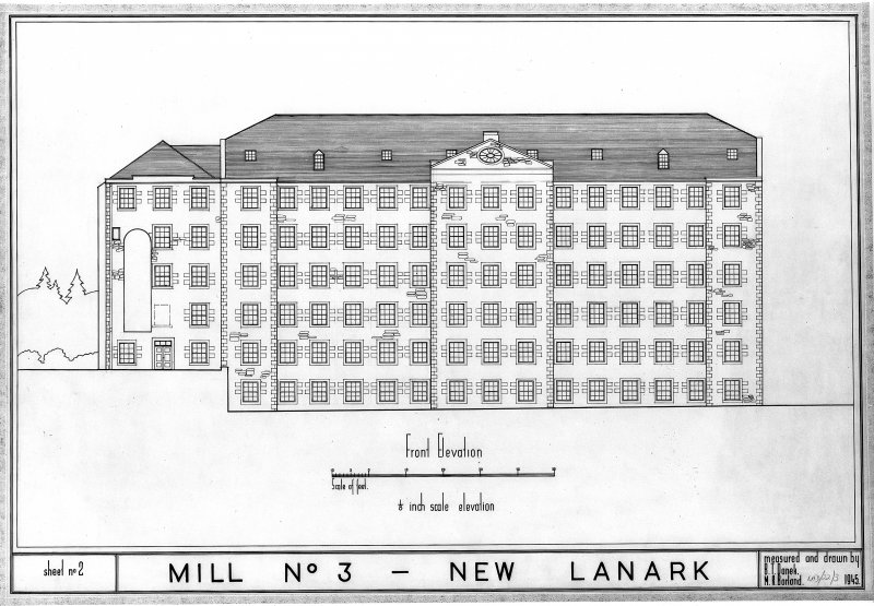 New Lanark, Caithness Row Copy of elevation of Mill No. 3