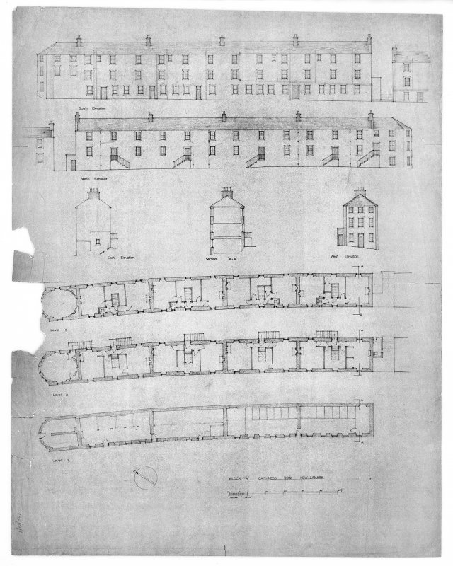 New Lanark, Caithness Row Copy of specimen plans and section