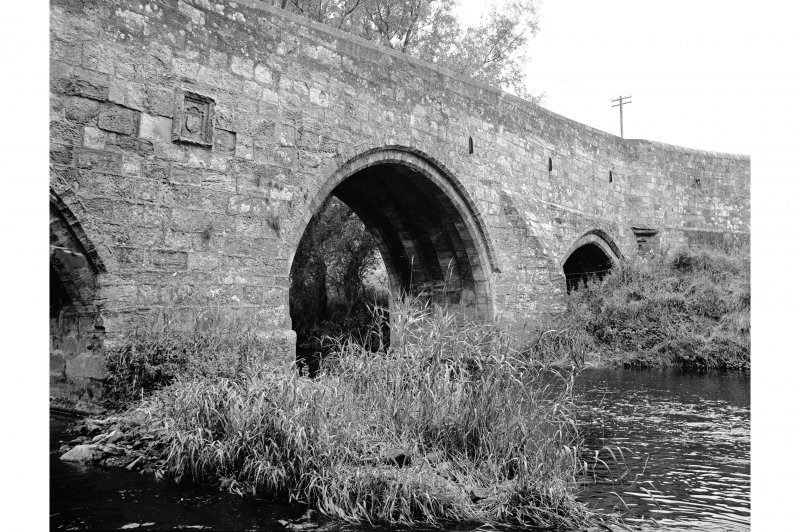 Dairsie Bridge View from E showing plaque and NE front of N and central arches