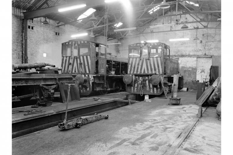 Glengarnock Steel Works, Locomotive Shed; Interior General view of two Ruston locomotives