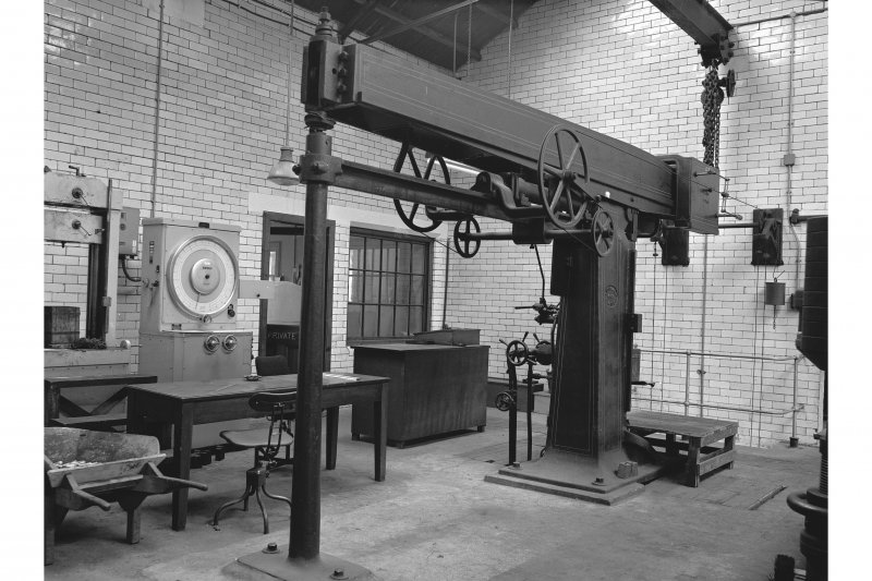 Glengarnock Steel Works, Joiner's Shop; Interior View of 50 ton tensile testing machine, made by Buckton (1571)