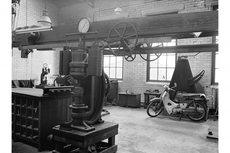 Glengarnock Steel Works, Joiner's Shop; Interior View of Brinell hardness testing device for 'Chinese order'