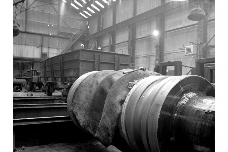 Glengarnock Steel Works, Roll-Turning Shop; Interior View of roll with lettering engraved