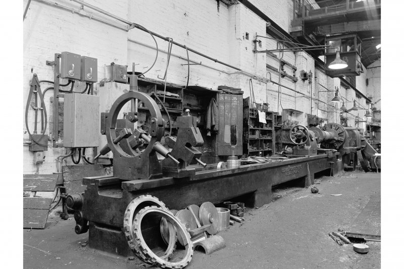 Glengarnock Steel Works, Engineer's Shop View of long-bed lathe, made by Oldfield and Schofield Co. Ltd, Halifax