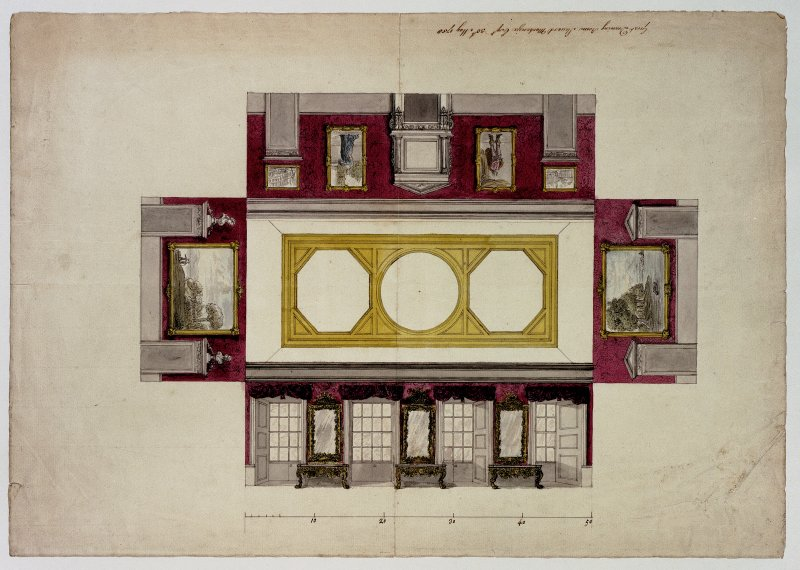 Blair Castle. Photographic copy of an exploded plan drawing showing a proposal for the Great Drawing Room by Stuard MacKenzie Esq.