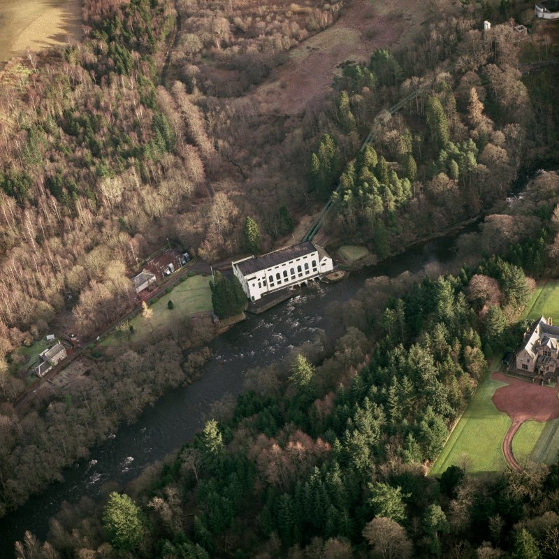 Scanned image of oblique aerial photograph of Bonnington Power Station, taken from the NW.