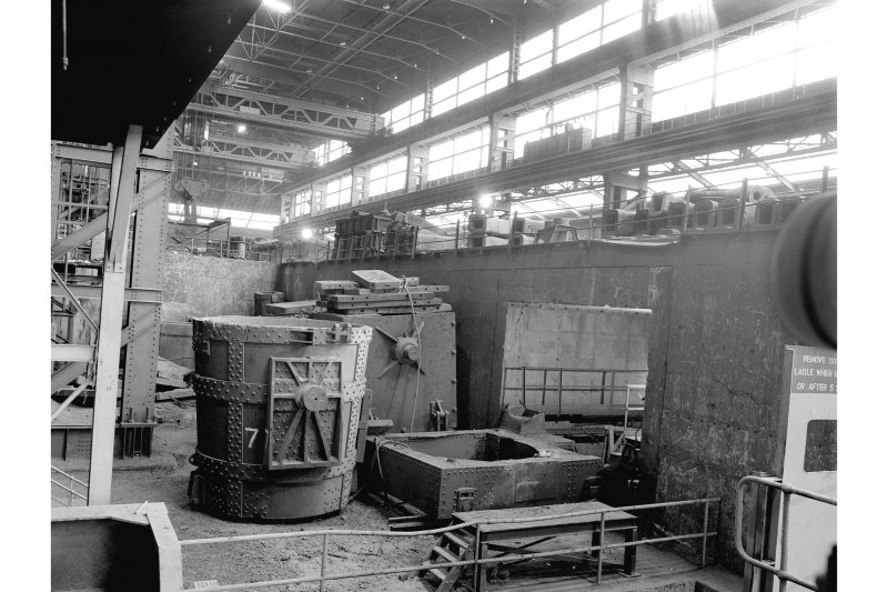 Hallside Steelworks, Interior View showing trolley for ladle route to foundry