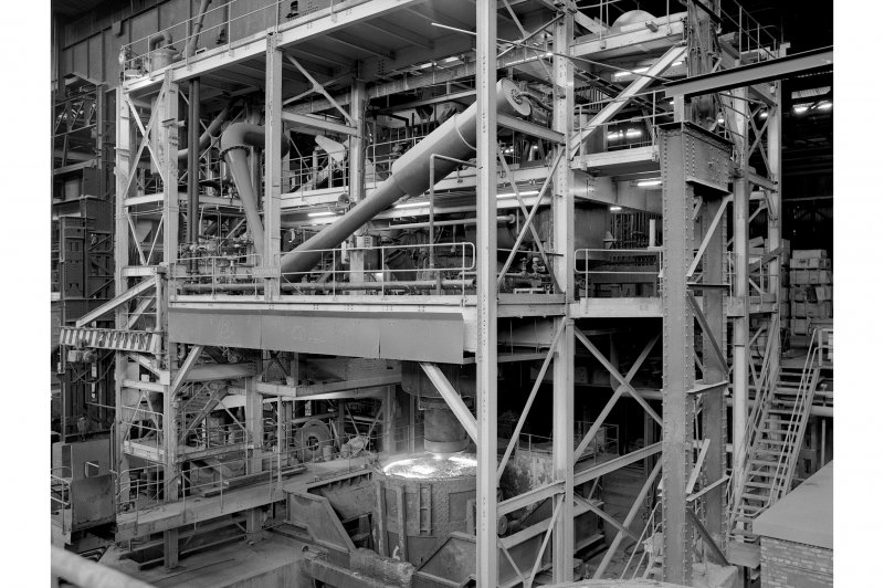 Hallside Steelworks, Interior View showing vacuum degasser which is about to start