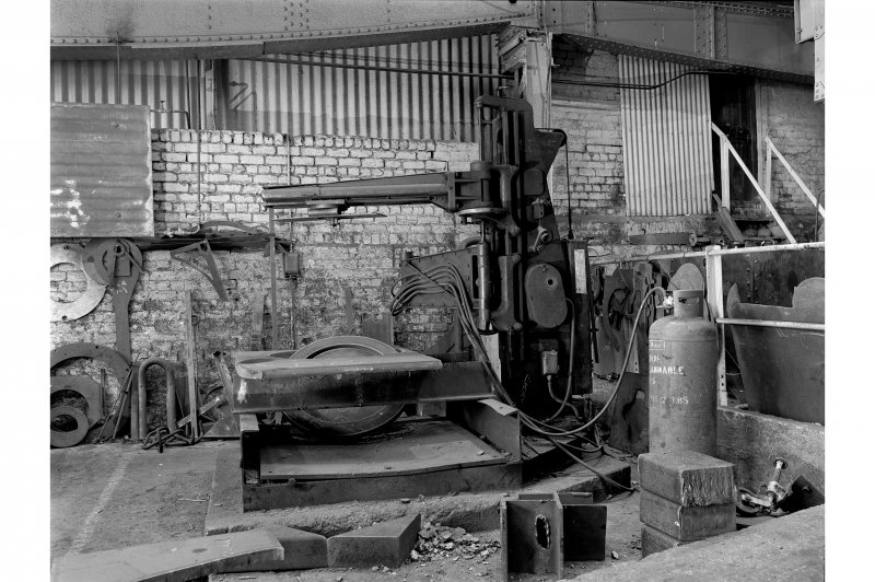 Hallside Steelworks, Interior View of boiler shop showing circle burning machine