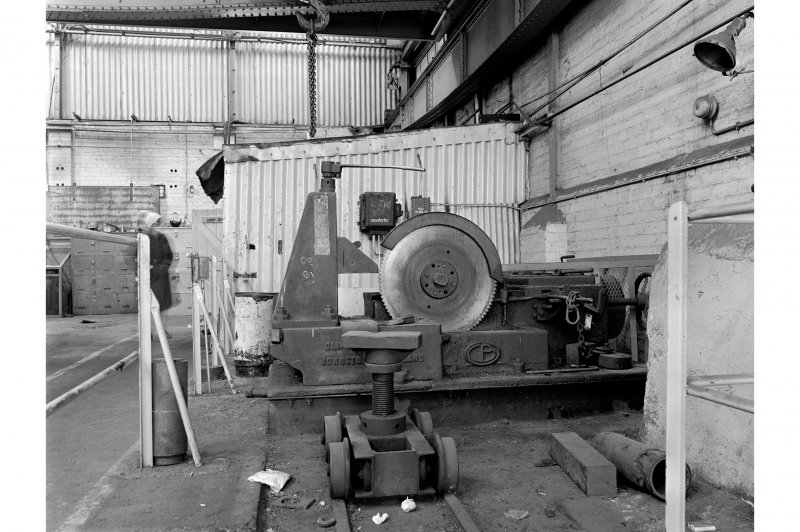 Hallside Steelworks, Interior View of boiler showing Clifton and Baird cold saw