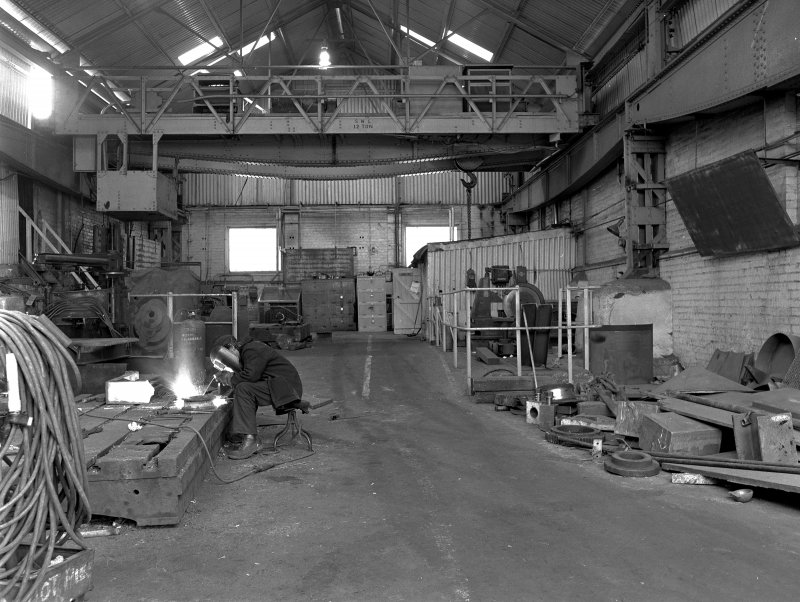 Hallside Steelworks, Interior View of boiler shop showing crane