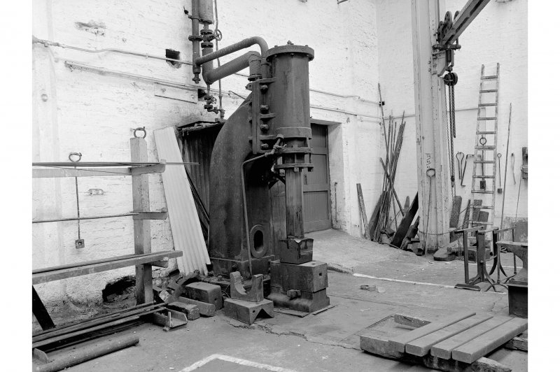 Hallside Steelworks, Interior View of smithy showing steam hammer