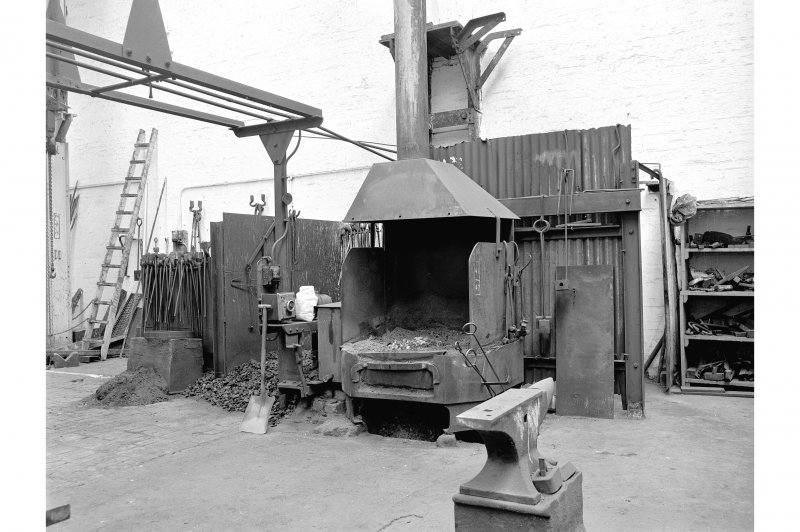 Hallside Steelworks, Interior View of smithy showing fire