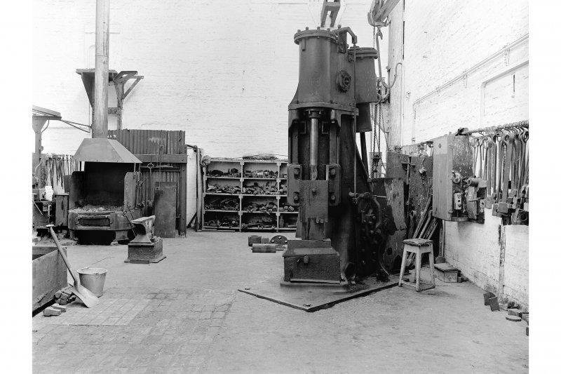Hallside Steelworks, Interior View of smithy showing Massey air hammer