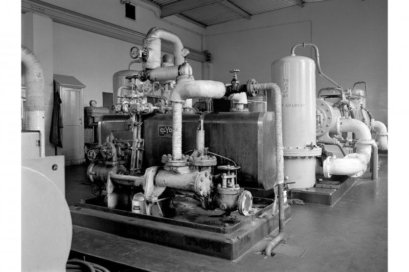 Hallside Steelworks, Interior View showing Clyde fuel oil pump and preheater with air compressor in background