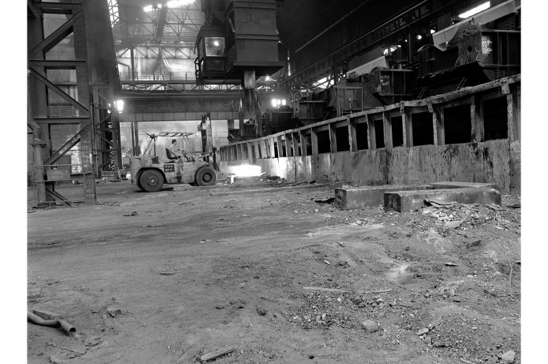 Hallside Steelworks, Interior View showing tractor taking ingot from soaking pit to cogging mill