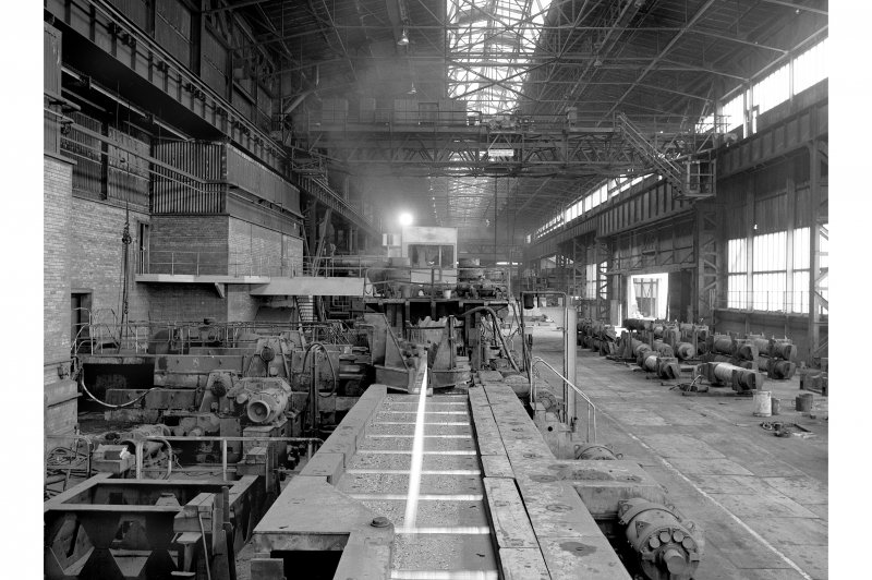Hallside Steelworks, Interior View of bar mill showing finishing stand