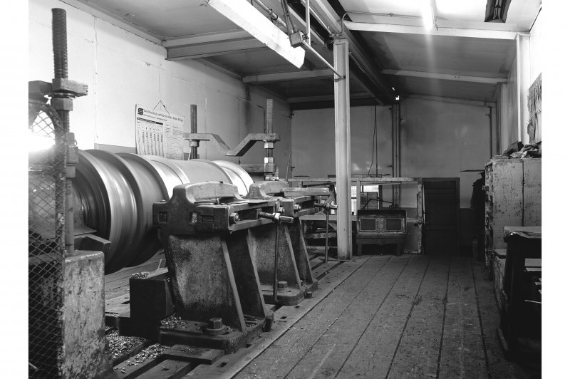 Hallside Steelworks, Interior View showing roll-turning lathe, old type tool rest