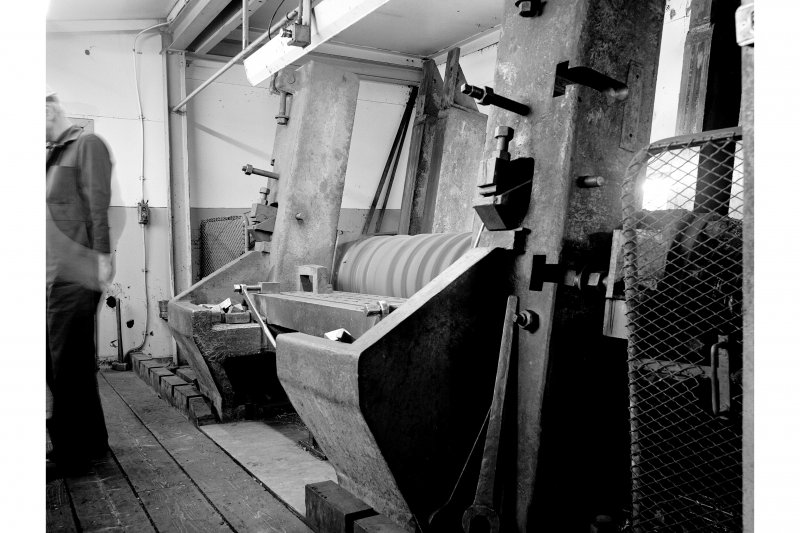 Hallside Steelworks, Interior View showing roll-turning lathe, 'piano' rest